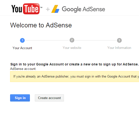 Adsense sign in