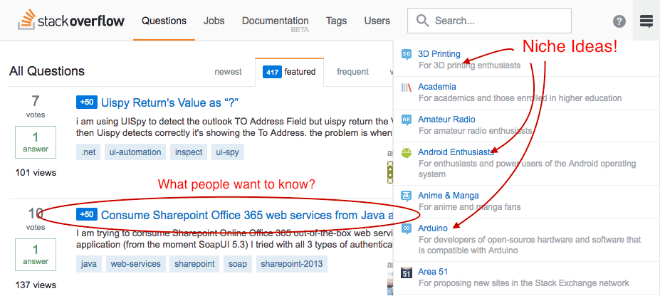 Tech online business Ideas from Stack Overflow