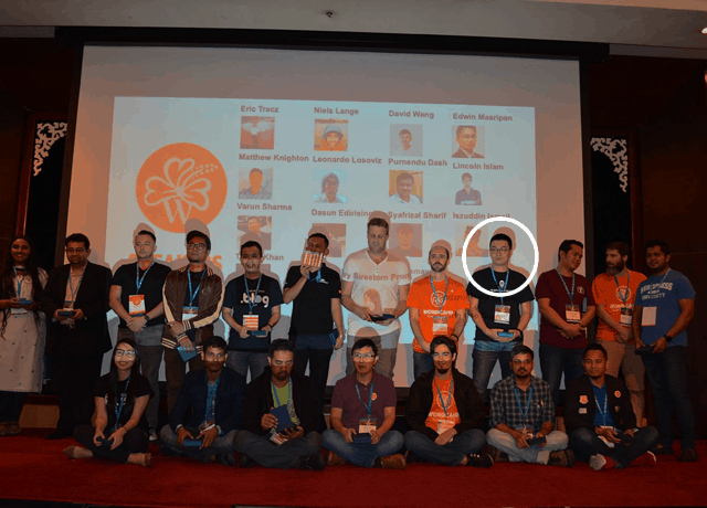 That's me in the white circle. You can't see it in my poker face but I felt extremely proud to be able stand alongside with these WordPress experts and entrepreneurs