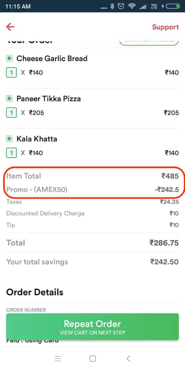 zomato savings with credit card