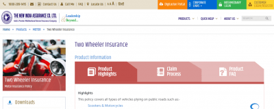 New India Assurance Co. Two Wheeler Insurance